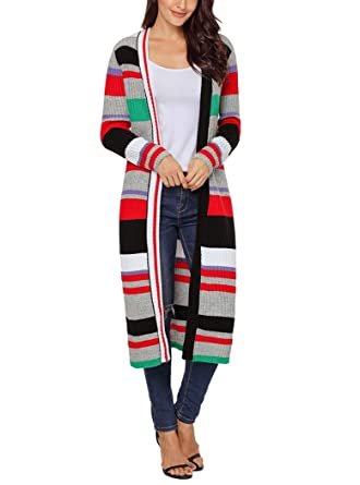Image Unavailable. Image not available for. Color  YIHUAN Women s Multicolor  Striped Colorblock Sweater Open Front Long Cardigan fdff39a61