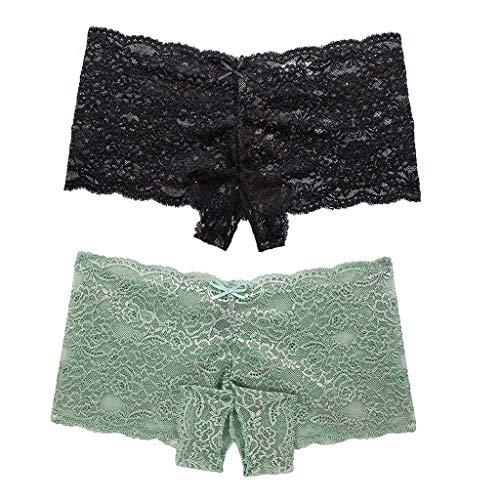 Yetou Prime Amazon Day,Save 15% Women Panty Sexy Floral Lace Splice Briefs Panties Thongs Lingerie Underwear 2PC Black Green