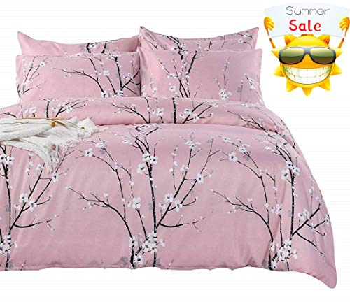 (SexyTown King Floral Duvet Cover Set Floral and Branches Pattern on Duvet Cover and Pillowcases Spring Blossom Pattern Bedding Elegant Duvet Cover King (Pattern F, King) )