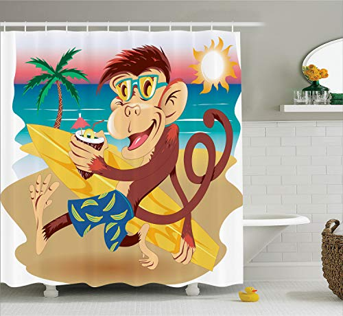 - Ambesonne Tropical Animals Shower Curtain, Hipster Monkey with Surfboard and Glasses Drinking on Beach in Sunny Day Kids, Cloth Fabric Bathroom Decor Set with Hooks, 84 Inches Extra Long, Multicolor