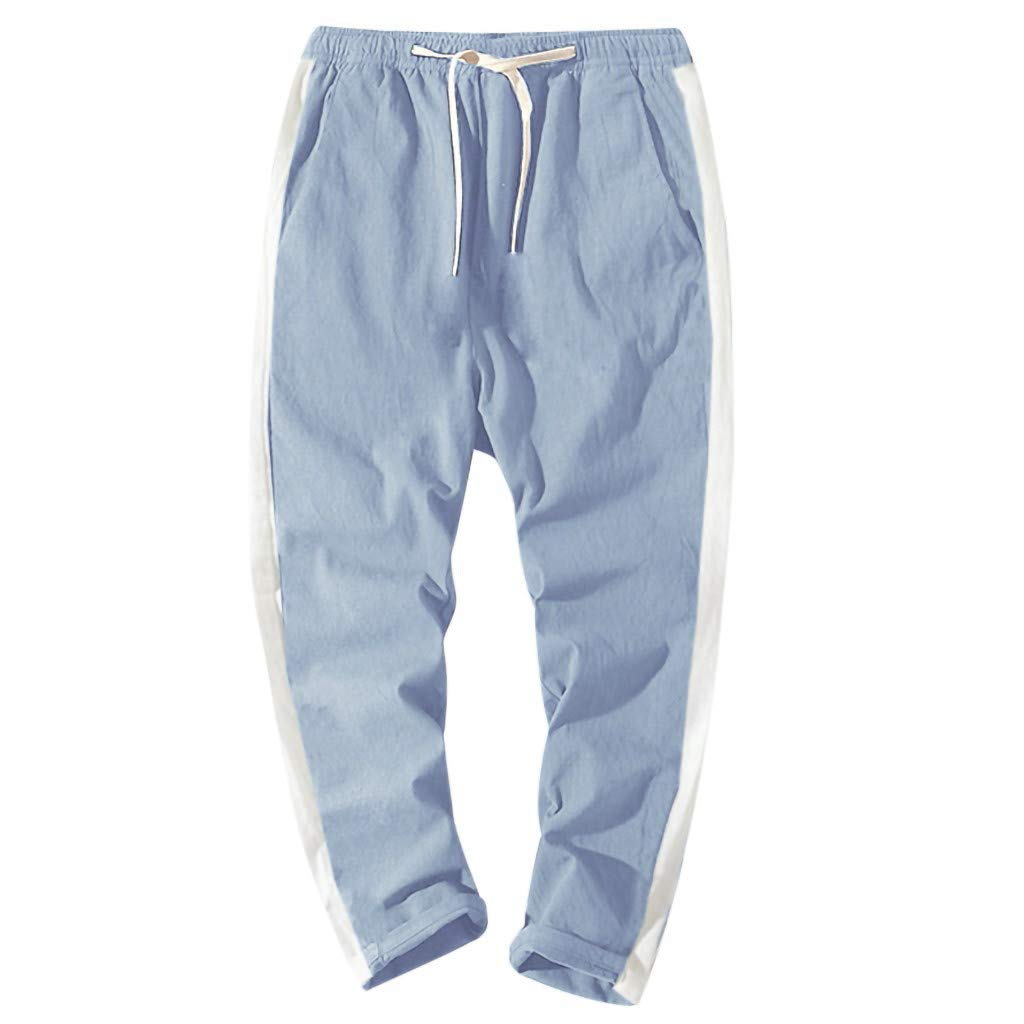 Men's Casual Pants Classic Fit Basic Fleece Closed-Bottom Pocketed Joggers Sweatpants Light Blue by LOVOZO