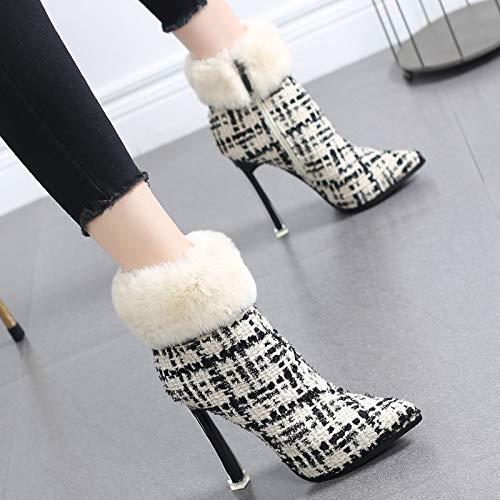 HRCxue HRCxue HRCxue Pumps Mode High Heels Kinder Plaid Martin Stiefel Spitze Stiletto Stiefel Frauen  6b027b