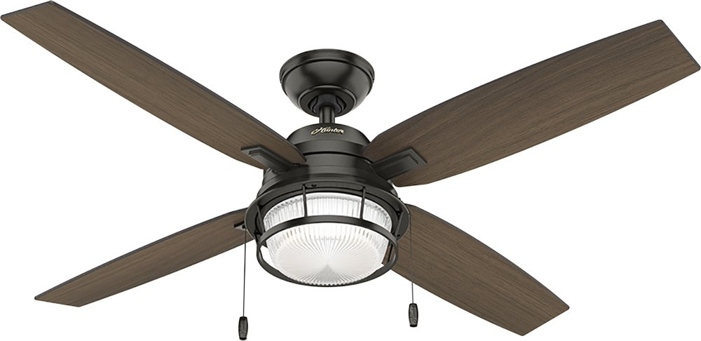 Hunter Indoor Ceiling Fan with light and pull chain control – Caribbean Breeze 54 inch, White, 54094