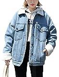 Jenkoon Women's Oversized Thick Warm Sherpa Fur Lined Denim Trucker Jacket Boyfriend Jean Coat (Light Blue, Large)
