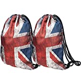 Peicees 3D Print Drawstring Backpack for Women Men kids Girls and Boys, Dating Travel Daily Shopping Open Air Concert School Cheer Team Drawstring Backpack Bag(British Flag-2 Pack)