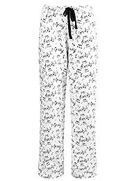 Leisureland Women's Cotton Jersey Knit Pajama Pants Music Notes Print