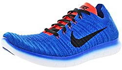 Nike Mens Free Run Flyknit Running Shoes Racer Blueblackcrimson 831069-405 Size 9.5