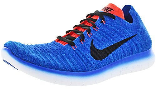 NIKE Mens Free Run Flyknit Running Shoes Racer Blue/Black/Crimson 831069-405 Size 10.5