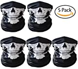 Image of CandyHome 5 Pack Seamless Skull Mask Motorcycle Bicycle Half Face Tube Skeleton Mask for Halloween - Black