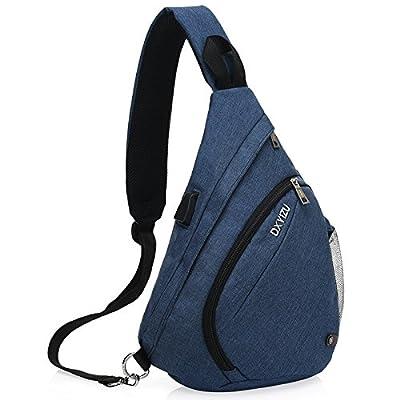 hongrun Men's chest Pack sac à bandoulière unique paquet diagonale sac à dos loisirs USB.