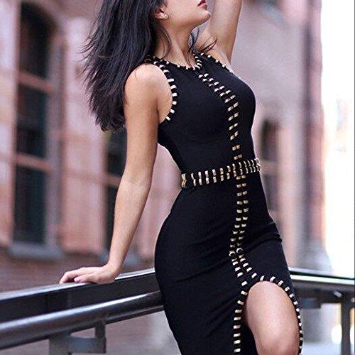 Party Studded Fork Sleeveless Bandage Rayon Dress Women Hlbandage Open Nero aYw114