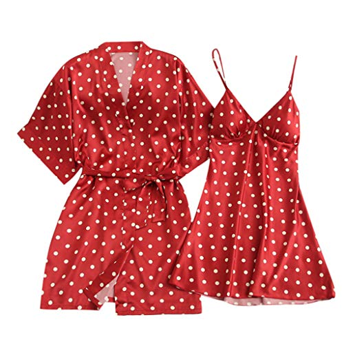 (CCOOfhhc_Sleepwear Sets for Women Lace Nightgown Wave Element Satin Short Robe Kimono with Belt Two Piece Short Set Red)