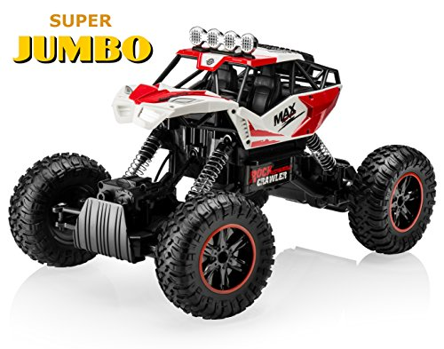 Top Race JUMBO Remote Control RC Car Off Road Crawler 4WD RC Monster Truck with Heavy Rubber Air Tires 2.4Ghz - Race 4wd