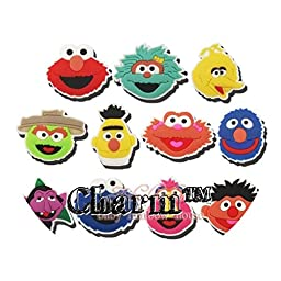 Sesame Street JIBBITZ Set of 5 Assorted (Generic) PVC Crocs Natives Party Favors by CharmTM