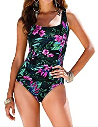 Women's Black One Piece Bathing Suit Ruched Tummy Control...