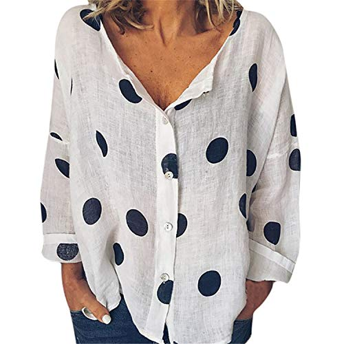 Londony ♪ Women's Plus Size Perfect Button Down Shirt Loose Blouse V Neck T Shirts Tie Front Knot Casual Tops White