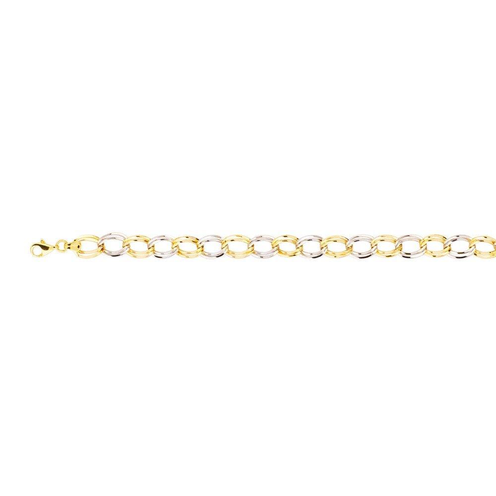 mejor moda Pulsera de oro amarillo y blanco de 14 14 14 quilates de alto pulido, doble eslabón, 19 cm  100% a estrenar con calidad original.