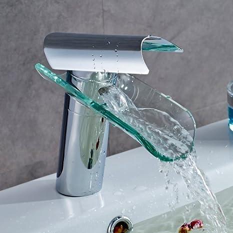 Auralum Badarmatur mit Glasauslauf Wasserhahn Badezimmer Armaturen Waschtischarmatur Einhandmischer Wasserfall Bad Armatur