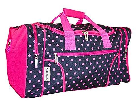 J Garden Black Pink Polka Dots Travel Duffel Bag 19-inch - Pink Kids Bag