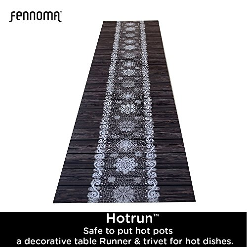 Hotrun Decorative Trivet and Kitchen Table Runners Handles Heat Up to 356F Anti Slip Hand Washable and Convenient for Hot Dishes and Pots (Wood) by Fennoma (Image #6)