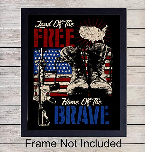 Patriotic American Flag Wall Art Print - Proud Home Decor Perfect for Den, Office, Man Cave, Bedroom- Great Gift for Military Veterans and 4th of July - Ready to Frame ()