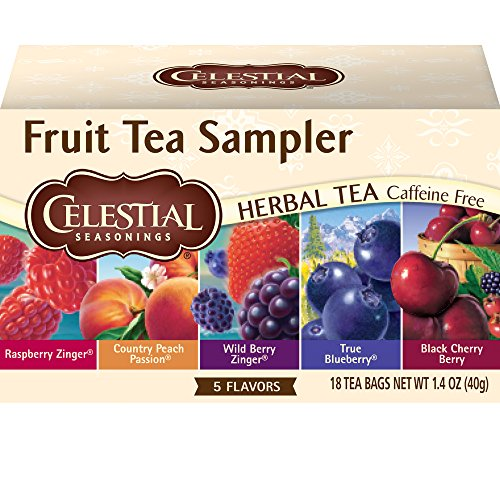 Celestial Seasonings Black Tea Honey - Celestial Seasonings Herbal Tea, Fruit Tea Sampler, 18 Count (Pack of 6)