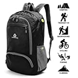 Loocower Lightweight Hiking Travel Backpack, 35L Packable Ultralight Backpack Daypack, Water-Resistant Foldable Camping Outdoor Backpack for Travelling - Black