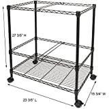 Bonnlo Premium 2-Tier Metal Rolling File Cart for Letter Size and Legal Size Folder Mesh Organizer Cart with 4 Rolling Wheels Black 23.6 x 15.7 x 27.6 Inches L x W x H