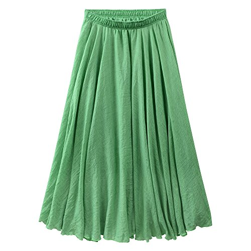 Ourlove Fashion Women's Bohemian Style Elastic Waist Band Cotton Linen Long Maxi Skirt Summer Dress (95 CM, (Green Linen Skirt)