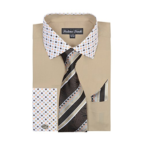 Convertible Golf Shirt (FORTINO LANDI Men's Polka Dot Collar Shirt, Tie,Hanky & Cufflinks Khaki,L (16-16.5) 34/35)
