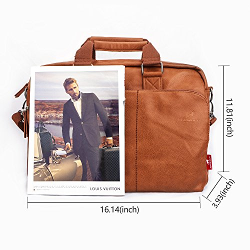 15.6'' PU Leather Laptop Bag Business Briefcase Hand Bag Computer Notebook Office Working Doctor Bag Shoulder Crossbody Bag Handbag by TOPWOLF NEW YORK (Image #6)