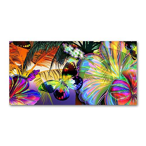 Tulup Impresion en Vidrio - Cuadro sobre Vidrio - Pinturas en Vidrio - Cuadro en Vidrio - Impresiones sobre Vidrio - Cuadro de Cristal - 120x60cm - Flores y Plantas - Multicolor - Flores y Mariposas