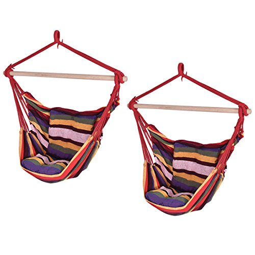 Giantex 2PCS Red Deluxe Hammock Rope Chair Patio Porch Yard Tree Hanging Air Swing patio(2Red) (Rope Hammock Deluxe)