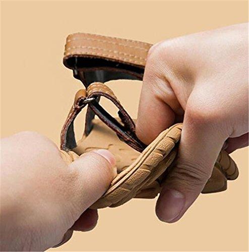 Eu38 eu38 Mano Verano Hombre Suaves 44 Sandalias Transpirable Tamaño Genuino Zapatos Punta Suelas 38 Abierta Antideslizantes Hechas Velcro De Nslxie Playa Black A Cuero 1Fqwgn