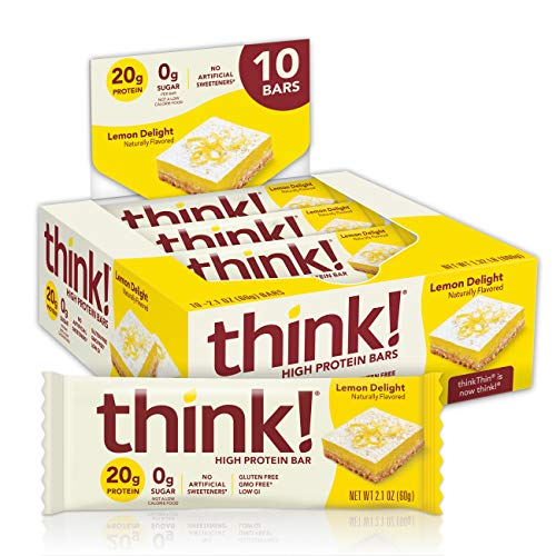 think! High Protein Bars – Lemon Delight, 20g Protein, 0g Sugar, No Artificial Sweeteners, GMO Free, 2.1 oz bar (10…