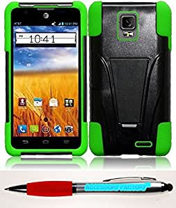 Accessory Factory(TM) Bundle (the item, 2in1 Stylus Point Pen) For ZTE Z998 Mustang UNICO Z930L T-Stand Cover Case - Black+Neon Green cas protecteur de couverture