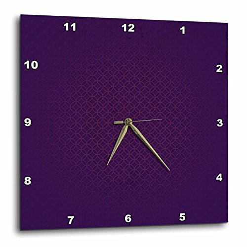 3dRose Stylish Dark Purple Tone Abstract Circles and Diamonds – Wall Clock, 13 by 13-Inch DPP_202455_2