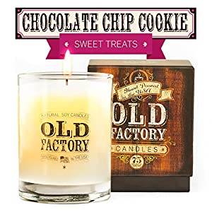 Scented Candles - Chocolate Chip Cookie - Decorative Aromatherapy - 11-Ounce Soy Candle - from Old Factory Candles