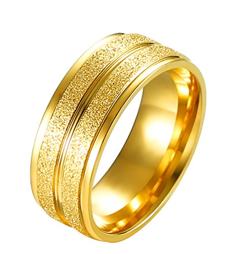 ALEXTINA Men's Stainless Steel 8MM Grooved Gold Plated Wedding Rings Sandblast Finish Size 12
