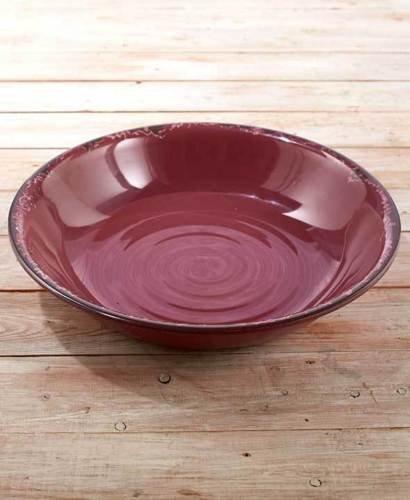 Rustic Melamine Serving Bowls. Vintage Distressed Tableware. Plum.. oversized vintage style Bowl.