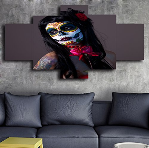 Day of the Dead Face Extra Large Painting on Canvas Wall Art 5 Piece Modern Girl Posters and Prints Abstract Pictures for Living Room,Home Decor Gallery-wrapped Art Set Framed Stretched(60''Wx40''H) by Yatsen Bridge