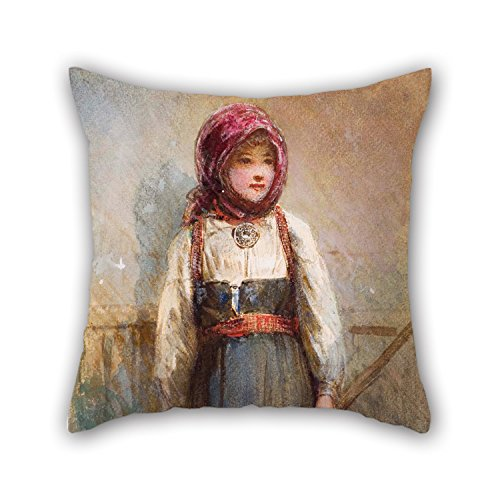 Bestseason Oil Painting Egron Lundgren - Untitled (Norwegian Girl) Cushion Covers 18 X 18 Inches / 45 By 45 Cm For Her,teens,drawing Room,bar,kids Girls,kitchen With Each Side