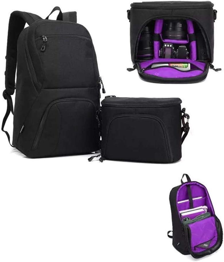 YADSHENG Camera Bag Multifunction Camera Video Camcorder Bags Large Capacity 2 in 1 DSLR Camera Bag Backpack Camera Shoulder Bag Color : Purple, Size : 44x30x16cm