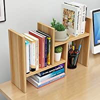 Beeiee Wood Desktop Bookshelf Adjustable Desktop Bookshelf Adjustable Countertop Bookcase Office Supplies Wood Desk Organizer Accessories Display Rack (Light Walnut)