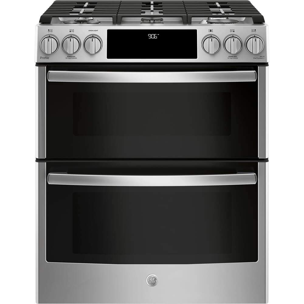 GE Profile PGS960SELSS 30 Inch Slide-in Gas Range with Sealed Burner Cooktop, 6.7 cu. ft. Primary Oven Capacity in Stainless Steel (Certified Refurbished)