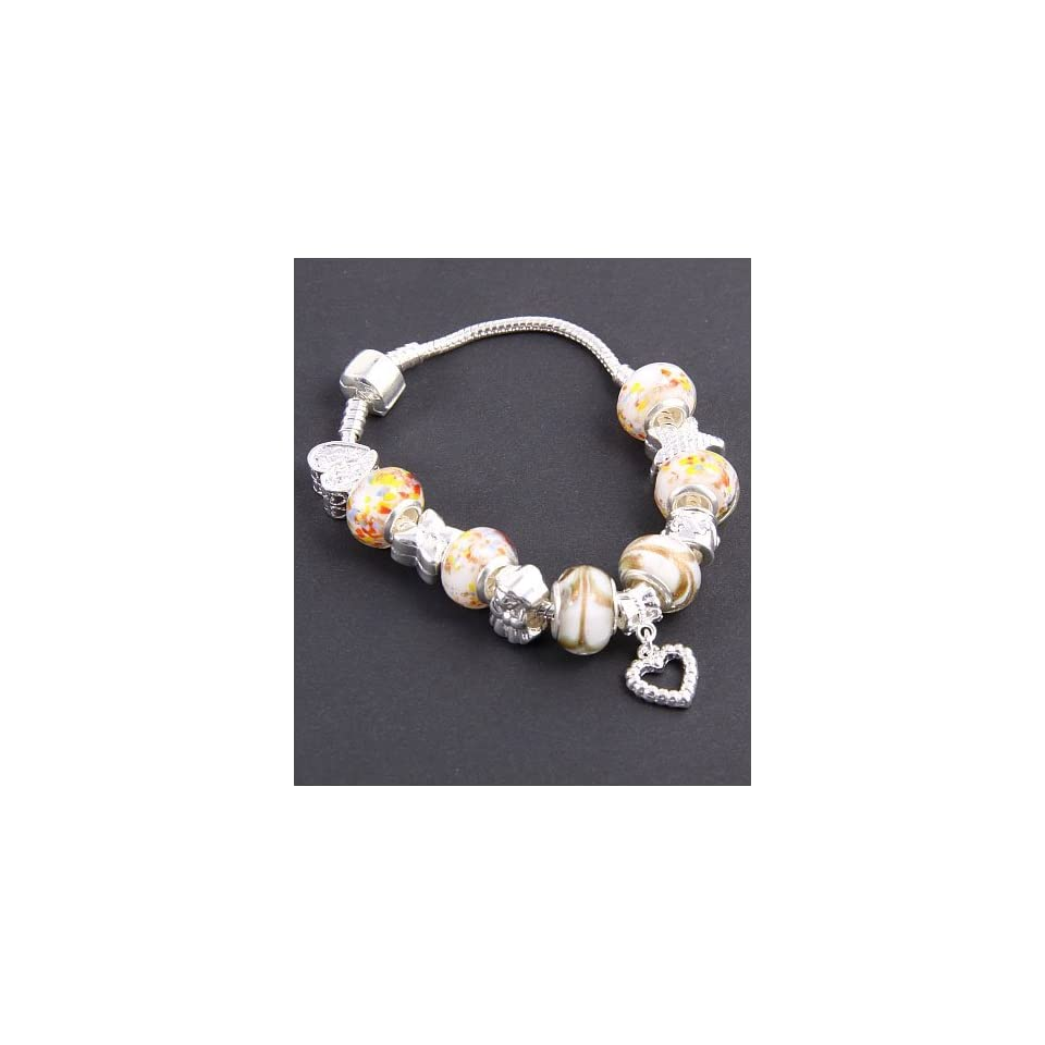 Fashion Jewelry Desinger Murano Glass Bead Bracelet with Pattern Yellow