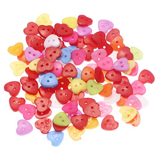 Foxnovo 100pcs Cute Heart Shaped Multicolor 2 Holes Resin Sewing Buttons for Sewing /Scrapbooking /Knitting (Random Color) (2 Hole Heart)