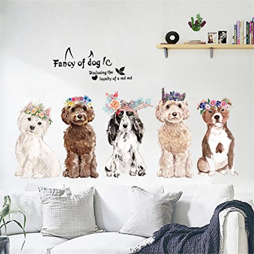 Transer Wall Sticker, Fancy of Dogs DIY Removable Wall Window Decal Kid Room Bedroom Decoration (Multicolor) ()