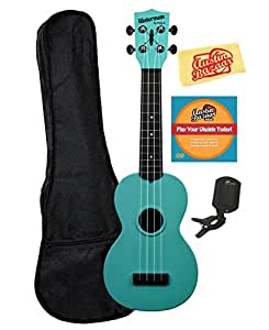 Kala KA-SWG-BL Waterman Soprano Ukulele - Glow-in-the-Dark Blue Matte Bundle with Gig Bag, Tuner, Austin Bazaar Instructional DVD, and Polishing Cloth