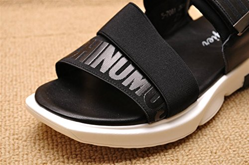Zapatos Hombre Insun Libre Sandalias de Cuero Al Aire Negro Para qwAXA6xrI